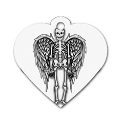 Angel Skeleton Dog Tag Heart (one Side) by Valentinaart