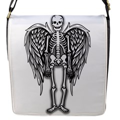 Angel Skeleton Flap Messenger Bag (s) by Valentinaart