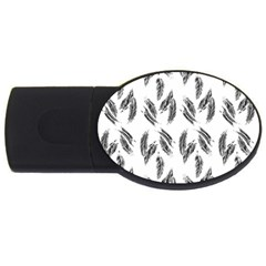 Feather Pattern Usb Flash Drive Oval (2 Gb) by Valentinaart