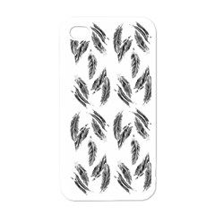 Feather Pattern Apple Iphone 4 Case (white) by Valentinaart