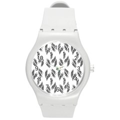 Feather Pattern Round Plastic Sport Watch (m)