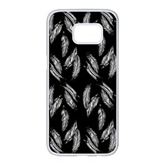 Feather Pattern Samsung Galaxy S7 Edge White Seamless Case by Valentinaart