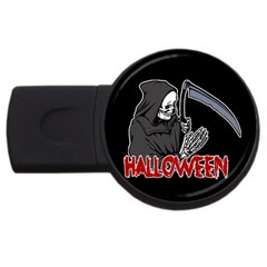 Death   Halloween Usb Flash Drive Round (4 Gb) by Valentinaart