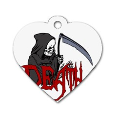 Death   Halloween Dog Tag Heart (two Sides) by Valentinaart