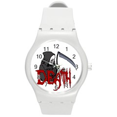 Death   Halloween Round Plastic Sport Watch (m) by Valentinaart