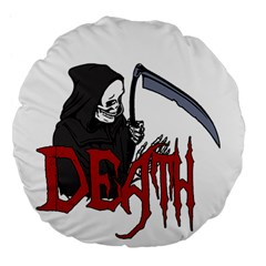 Death   Halloween Large 18  Premium Flano Round Cushions by Valentinaart