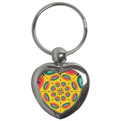 Textured Tropical Mandala Key Chains (heart)  by linceazul