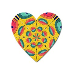 Textured Tropical Mandala Heart Magnet by linceazul