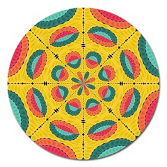 Textured Tropical Mandala Magnet 5  (round)