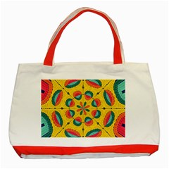 Textured Tropical Mandala Classic Tote Bag (red) by linceazul