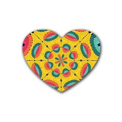 Textured Tropical Mandala Heart Coaster (4 Pack)  by linceazul