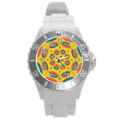Textured Tropical Mandala Round Plastic Sport Watch (l) by linceazul