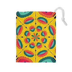 Textured Tropical Mandala Drawstring Pouches (large)  by linceazul