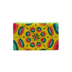 Textured Tropical Mandala Cosmetic Bag (xs) by linceazul
