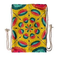 Textured Tropical Mandala Drawstring Bag (large) by linceazul