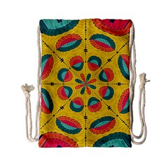 Textured Tropical Mandala Drawstring Bag (small) by linceazul