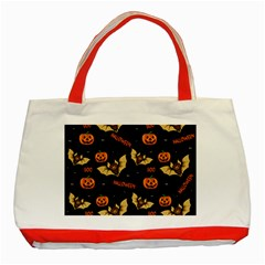 Bat, Pumpkin And Spider Pattern Classic Tote Bag (red) by Valentinaart