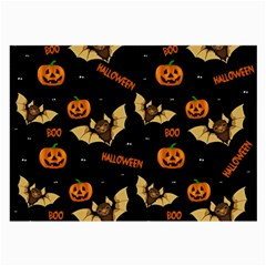 Bat, Pumpkin And Spider Pattern Large Glasses Cloth (2 Side) by Valentinaart