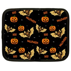 Bat, Pumpkin And Spider Pattern Netbook Case (large) by Valentinaart