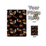 Bat, pumpkin and spider pattern Playing Cards 54 (Mini)  Front - Spade7
