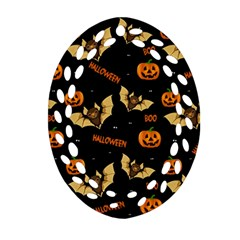 Bat, Pumpkin And Spider Pattern Ornament (oval Filigree)