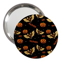 Bat, Pumpkin And Spider Pattern 3  Handbag Mirrors by Valentinaart
