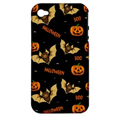 Bat, Pumpkin And Spider Pattern Apple Iphone 4/4s Hardshell Case (pc+silicone) by Valentinaart