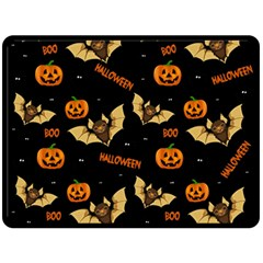 Bat, Pumpkin And Spider Pattern Double Sided Fleece Blanket (large)