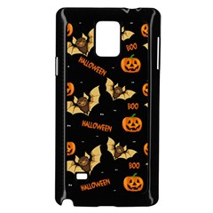 Bat, Pumpkin And Spider Pattern Samsung Galaxy Note 4 Case (black) by Valentinaart