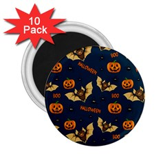 Bat, Pumpkin And Spider Pattern 2 25  Magnets (10 Pack)