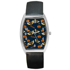 Bat, Pumpkin And Spider Pattern Barrel Style Metal Watch by Valentinaart