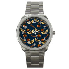 Bat, Pumpkin And Spider Pattern Sport Metal Watch by Valentinaart