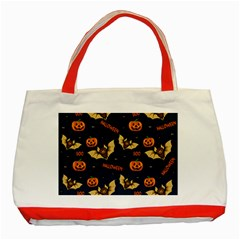 Bat, Pumpkin And Spider Pattern Classic Tote Bag (red)