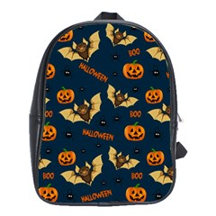 Bat, Pumpkin And Spider Pattern School Bag (large)