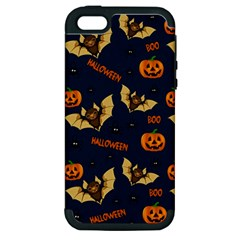 Bat, Pumpkin And Spider Pattern Apple Iphone 5 Hardshell Case (pc+silicone)