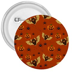 Bat, Pumpkin And Spider Pattern 3  Buttons by Valentinaart