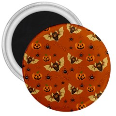 Bat, Pumpkin And Spider Pattern 3  Magnets by Valentinaart