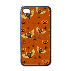 Bat, Pumpkin And Spider Pattern Apple Iphone 4 Case (black)