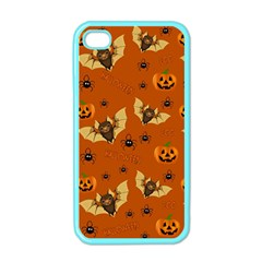 Bat, Pumpkin And Spider Pattern Apple Iphone 4 Case (color) by Valentinaart