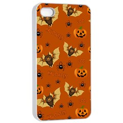 Bat, Pumpkin And Spider Pattern Apple Iphone 4/4s Seamless Case (white) by Valentinaart