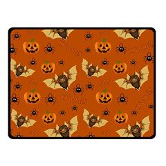 Bat, Pumpkin And Spider Pattern Double Sided Fleece Blanket (small)  by Valentinaart