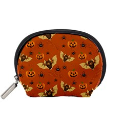 Bat, Pumpkin And Spider Pattern Accessory Pouches (small)  by Valentinaart