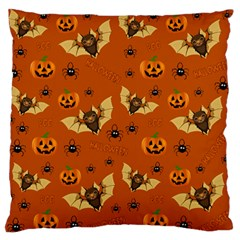Bat, Pumpkin And Spider Pattern Large Flano Cushion Case (one Side) by Valentinaart