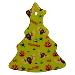 Bat, Pumpkin And Spider Pattern Ornament (christmas Tree)