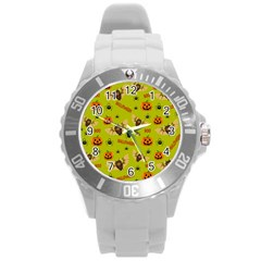Bat, Pumpkin And Spider Pattern Round Plastic Sport Watch (l) by Valentinaart