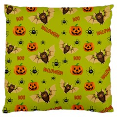 Bat, Pumpkin And Spider Pattern Large Cushion Case (two Sides)