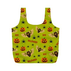 Bat, Pumpkin And Spider Pattern Full Print Recycle Bags (m)  by Valentinaart