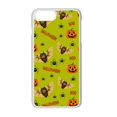 Bat, Pumpkin And Spider Pattern Apple Iphone 7 Plus White Seamless Case by Valentinaart