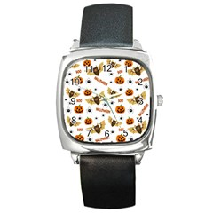 Bat, Pumpkin And Spider Pattern Square Metal Watch by Valentinaart
