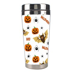 Bat, Pumpkin And Spider Pattern Stainless Steel Travel Tumblers by Valentinaart